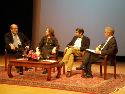 Salman Rushdie, Mira Kamdar, Suketu Mehta and Rome Hartman at Asia Society