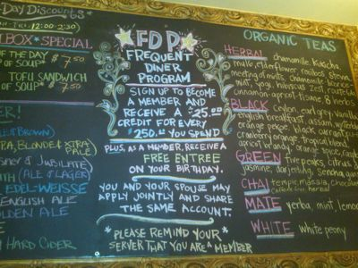 The Specials Board at The Organic Grill NYC